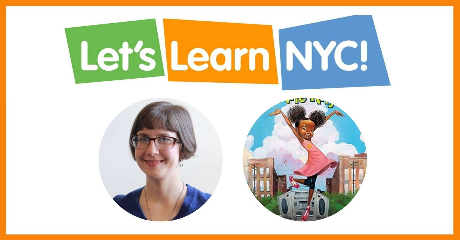 The words Let's Learn NYC are placed on green, orange, and blue rectangles. Below are two circles, one featuring an NYCCT Teaching Artist, and the other a Book Cover.